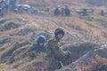 Zhytomyr, Ukraine - March 5, 2015: Front Line. Military attack on battlefield from ambush