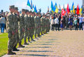 Zhytomyr, Ukraine - May 9, 2016: Military military parade, rows of soldiers