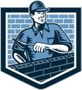Ziegelstein schicht mason masonry worker retro Lizenzfreie Stockfotos