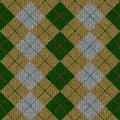 Zielony popielaty knitwork wzoru tartanu kolor żółty Zdjęcia Stock