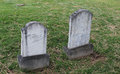 Zig zag twin marble headstone in old cemetery patterns on two headstones Royalty Free Stock Photos