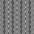 Zigzag chevron vector seamless pattern. Black and white geometric abstract striped background. Greek key vertical borders.