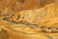Zigzag road, Leh Srinagar Highway, Ladakh, Jammu and Kashmir, India Royalty Free Stock Photo