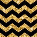 Zigzag seamless pattern Gold glitter and black template