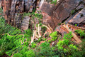 Zigzag trail leading to Angels landing summit Royalty Free Stock Photo