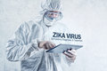 Zika virus concept, medical worker in protective clothes Royalty Free Stock Photo