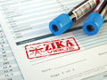 Zika virus diagnosis. Blood test sample with  Zika virus stamp, Royalty Free Stock Photo
