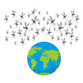 Zika virus mosquitoes. Fflock of mosquitoes. Attack on Earth.  E Royalty Free Stock Photo