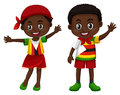 Zimbabwe boy and girl in flag color costume Royalty Free Stock Photo