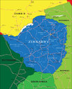 Zimbabwe map highly detailed vector of with administrative regions main cities and roads Stock Photos
