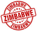 Zimbabwe red grunge round stamp