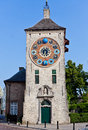 Zimmer clock tower lier belgium the containing multiple clocks in brabant Stock Photo