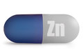 Zinc close up of immunity enhancing mineral supplement pill over a white background Royalty Free Stock Images