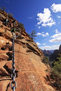 Zion Angels Landing Descent Royalty Free Stock Photo