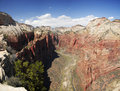 Zion Canyon and Virgin River from Angels Landing Stock Image