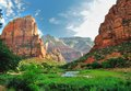 Zion canyon with the virgin river national park utah usa Stock Images