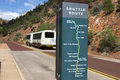 Zion national park shuttle bus plackard at stop in showing stops Royalty Free Stock Photography