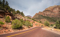 Zion national park utah view of the mount carmel highway Stock Image