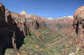 Zion overlook trail view from the end of canyon in national park usa Royalty Free Stock Photo