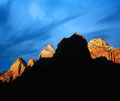 Zion peaks jagged saw tooth in late afternoon light at national park utah usa Stock Photo