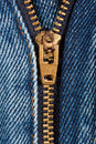 Zip close up of denim jeans partly open Royalty Free Stock Images