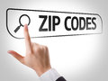 Zip Codes written in search bar on virtual screen Royalty Free Stock Photo
