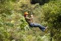 Zip line experience adventure in ecuadorian rainforest banos de agua santa Royalty Free Stock Photo