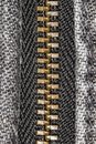 Zipper on black jeans extreme close up Royalty Free Stock Photo