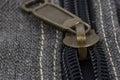 Zipper closeup on a gray bag Royalty Free Stock Photo
