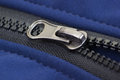 Zipper fastener of clothes macro metallic Stock Photography