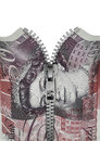 Zippered British fifty pound note Royalty Free Stock Photo