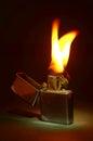 Zippo lighter on black background Royalty Free Stock Photography
