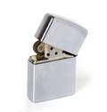 Zippo silver metal lighter isolated Stock Images