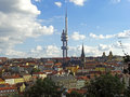 Zizkov prague view at hill and district Royalty Free Stock Image