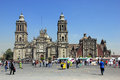 Zocalo mexico city february people walk on the street on plaza de la constitucion called also in front of cathedral metropolitana Stock Images