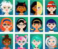 Zodiac astrological signs for horoscope set of twelve cartoon icons with cute girls faces representing Royalty Free Stock Image