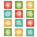 Zodiac buttons with signs for web Stock Photos