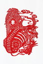 Zodiac Chinese Paper-cutting (Ox) Royalty Free Stock Photo