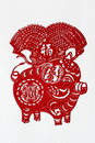 Zodiac Chinese Paper-cutting (Pig) Royalty Free Stock Photo