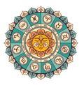 Zodiac circle with horoscope signs.Hand drawn illustration. Royalty Free Stock Photo