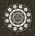 Zodiac circle with horoscope signs.Hand drawn illustration Royalty Free Stock Photo