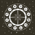 Zodiac circle with horoscope signs.Hand drawn Vector illustration. Royalty Free Stock Photo