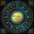 Zodiac circle with horoscope signs, sun and moon hand drawn vintage style vector illustration design. Royalty Free Stock Photo