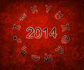 2014 Zodiac circle with zodiac sign Royalty Free Stock Photo