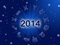 2014 Zodiac circle with zodiac signs Royalty Free Stock Photo