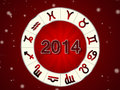 2014 Zodiac circle with zodiac signs Royalty Free Stock Photo
