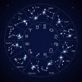 Zodiac constellation map with leo virgo scorpio symbols vector illustration Royalty Free Stock Photo
