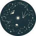 Zodiac constellation with planets in vector Royalty Free Stock Photo