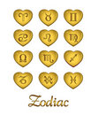 Zodiac Heart Gold Stock Photography