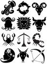 Zodiac Horoscope Icons - black and white Stock Photography